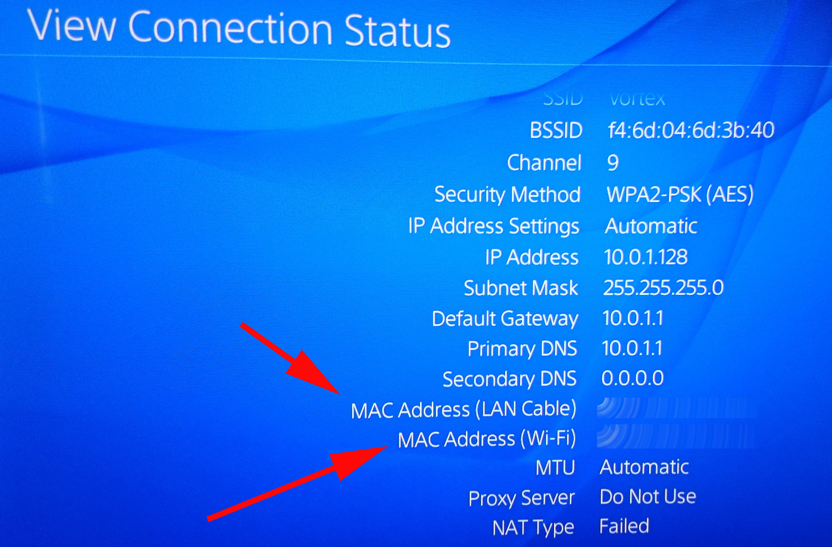 PS4: How to find MAC Address of WiFi or Ethernet