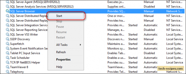 The SQL Server Browser service on Local Computer started and then stopped_3