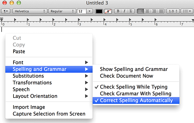 disable autocorrection mavericks in specific app