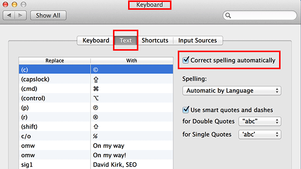 disable autocorrection mavericks