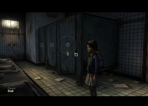 Helps Clementine check the stalls the Walking Dead season 2 walkthrough