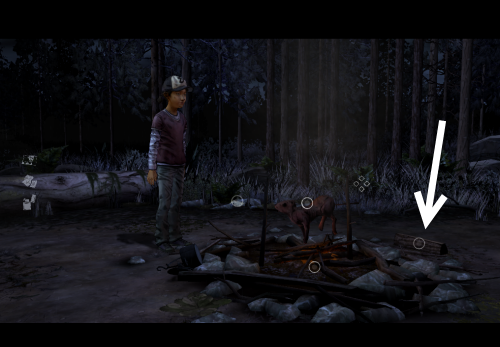 help Clementine pick up the log and burn it