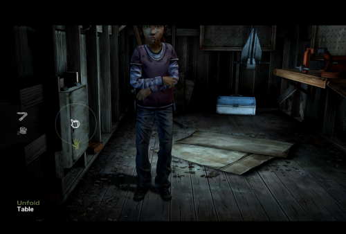 unfold the table to get the hammer for Clementine