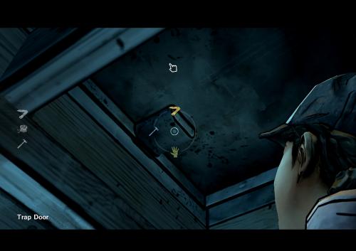 Clementine opens the trap door