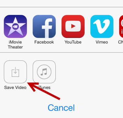 save video from imovie to camera roll
