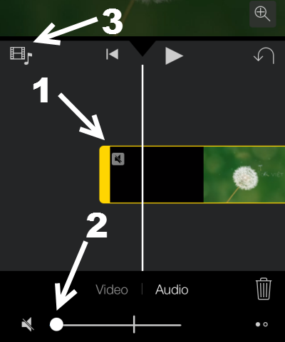mute default audio track in iMovie