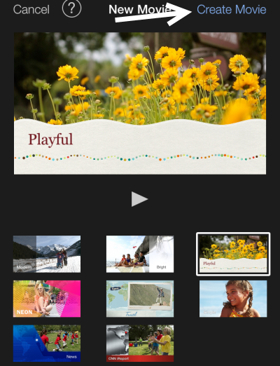 select theme for movie in iOS iMovie