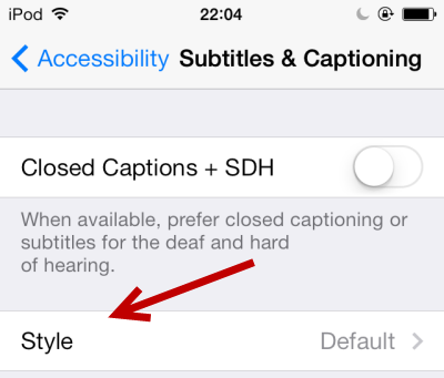 edit caption and subtitle style in iOS