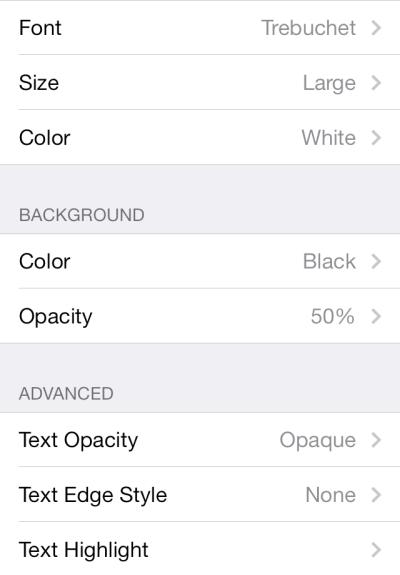 iOS subtitle and caption font settings