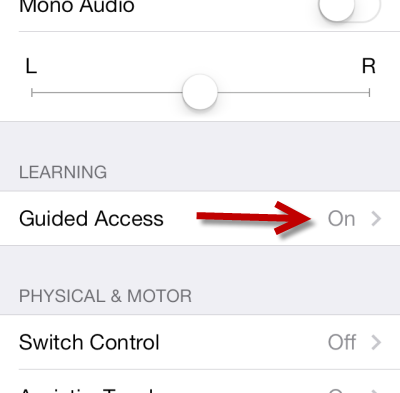 turn on Guided Access in Settings