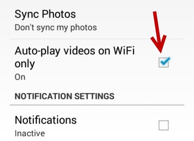 android Facebook Auto-play videos on Wifi only
