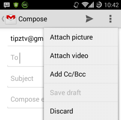 Attach picture or video in Gmail android