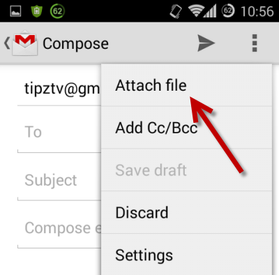 attach any file in Gmail android