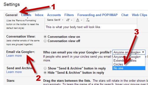 stop Google+ users from emailing in Gmail