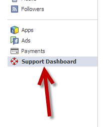Facebook support dashboard