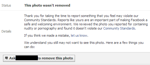 detail of reported content case on Facebook
