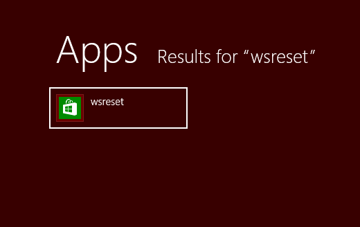 windows 8 store cache reset from search