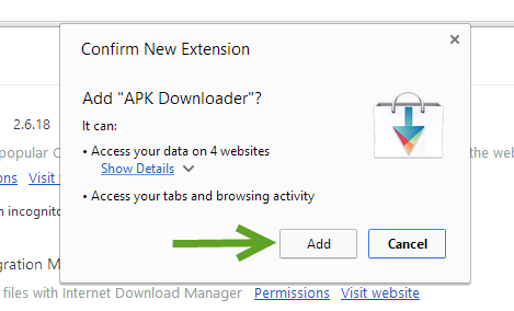 confirm adding extension to Chrome browser