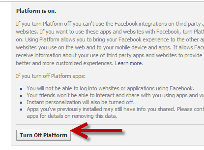 turn off Facebook app platform stop game invites