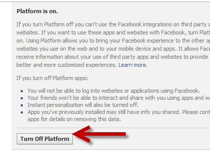 turn off Facebook app platform stop game invites