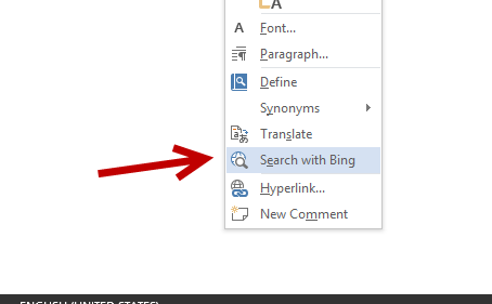 search with Bing from inside a Word document