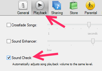 iTunes Playback Preferences Sound Check