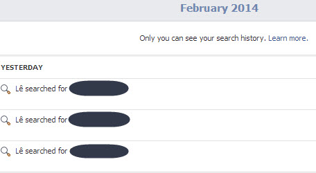 view old Facebook search terms