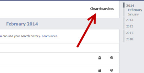 clear all Facebook search history