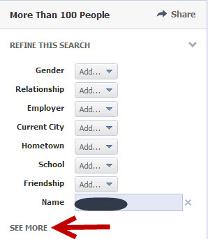 Facebook people search filters