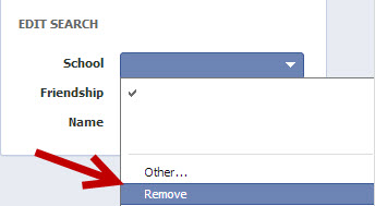 remove Facebook search filters