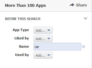 Facebook app search filters