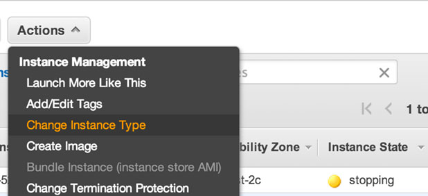 changing the ec2 instance type