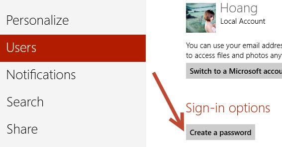 set up account password in Windows 8