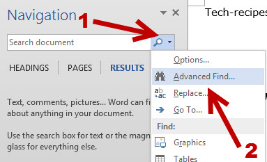 Using Microsoft Word Find and Replace