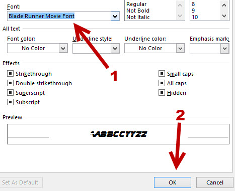 setting font filter in Find and Replace