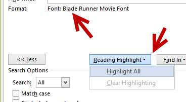 search for words using same font in Microsoft Word