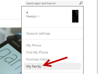 Windows Phone My Family feature