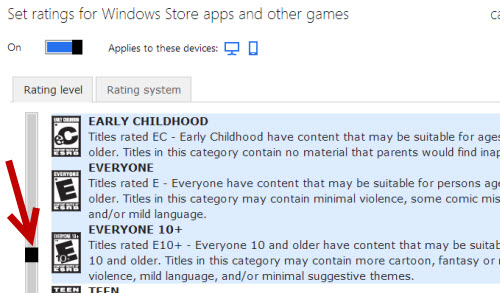 limit game ratings on windows phone 8