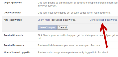 generate temporary password for Facebook account