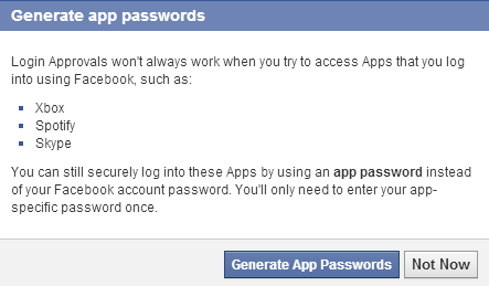create temporary facebook passwords