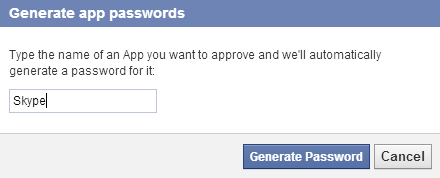 generate Facebook app passwords