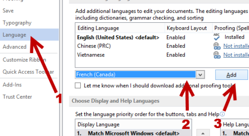 Add new language in Word