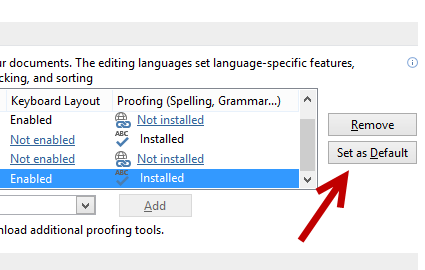 set another language as default in Word