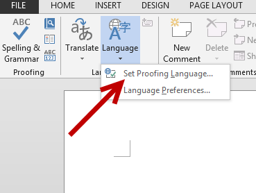 set proofing tool language in Word