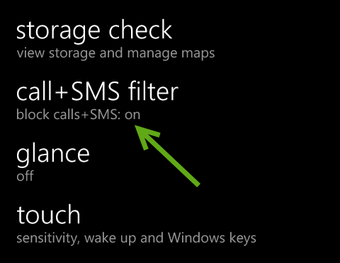 windows phone 8 call sms filter
