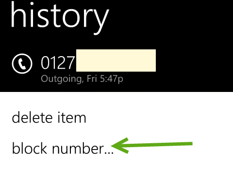 block a number in Windows Phone 8