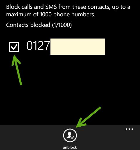 remove blocked numbers in Windows Phone 8