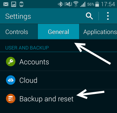 Galaxy S5 backup and reset
