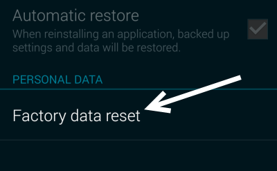 Galaxy s5 factory data reset