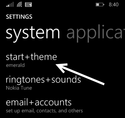 windows phone 8 start theme settings